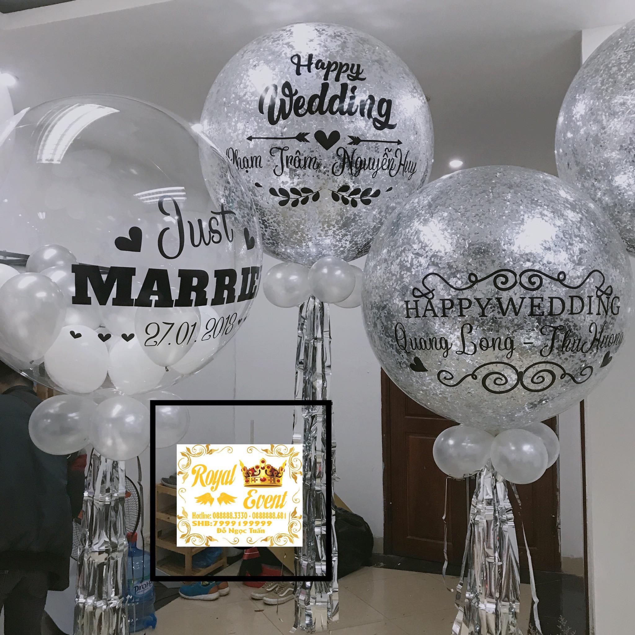 Bóng Bay Jumbo Nhũ In Chữ Happy Wedding